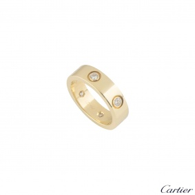Cartier Yellow Gold Full Diamond Love Ring Size 56 B4025956